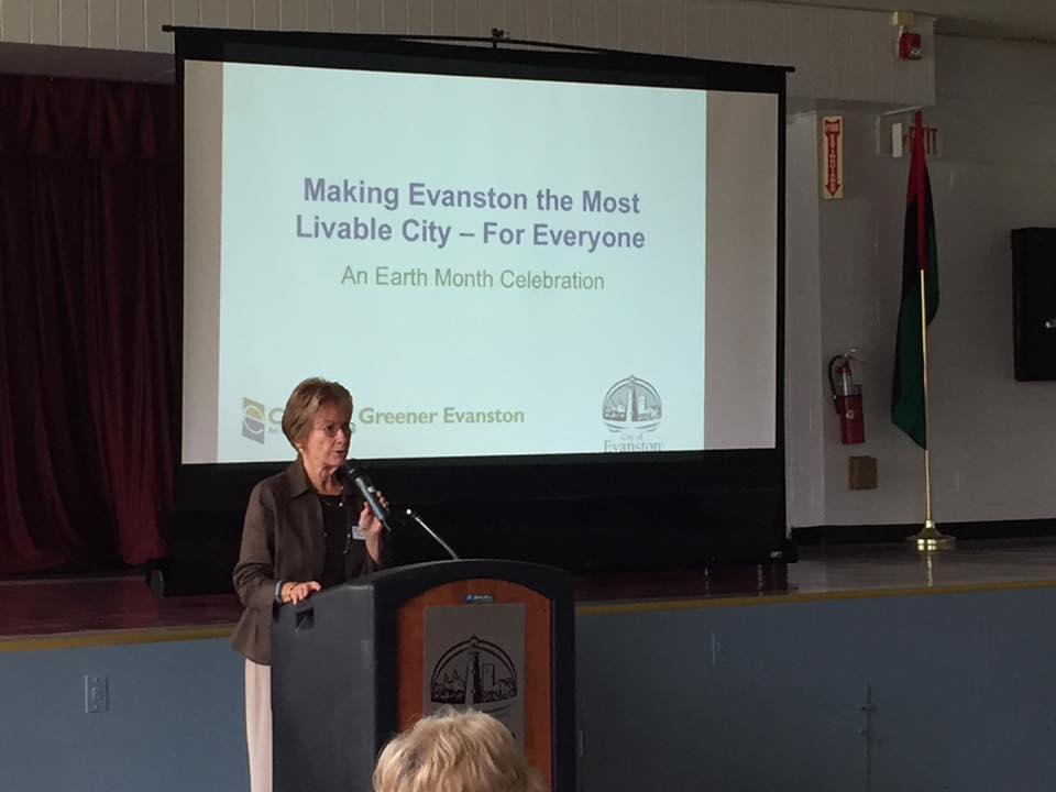 Alderman Eleanor Revelle opens CGE's Making Evanston the Most Livable City event at Fleetwood Jourdain